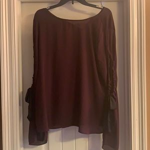 Sheer Blouse with slit sleeves and bow